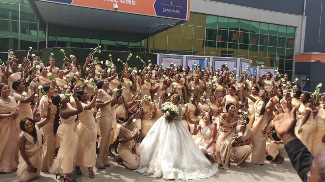 Linda Ikeji's Sister Breaks Guinness World Record With 200 Bridesmaids