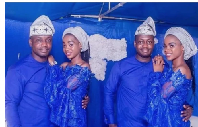 Twin sisters wed twin brothers in lovely wedding ceremony Read more: https://www.tuko.co.ke/335835-twin-sisters-twin-brothers-lovely-wedding-ceremony.html