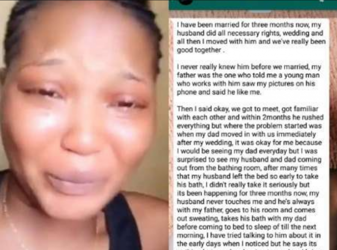 ' My husband bathes with my father everyday but he never touches me ' - Lady cries out
